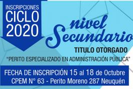Inscripciones Ciclo lectivo 2020. Nivel Secundario.