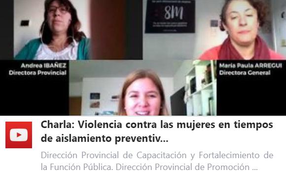 Charla sobre «Violencia contra las Mujeres en tiempos de Aislamiento social, preventivo y obligatorio»