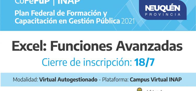 """Plan Federal 2021: """"Excel Funciones Avanzadas"""""""