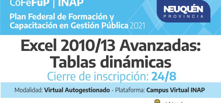 """Plan Federal 2021. """"Excel 2010/13 Avanzado"""""""