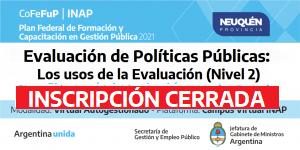 """PLAN FEDERAL 2021. Evaluación de Políticas Públicas: """"Los usos de la Evaluación"""" (Nivel 2)"""