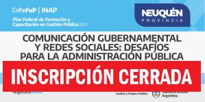 """Plan Federal 2021. """"Comunicación Gubernamental y Redes Sociales"""": Desafíos para la Administración Pública"""