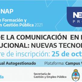 """Plan Federal 2021.""""Gestión de la Comunicación en el Ámbito Institucional"""". Nuevas Tecnologías"""