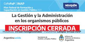 """Plan Federal 2021. """"La Gestión y Administración en los organismos públicos"""""""